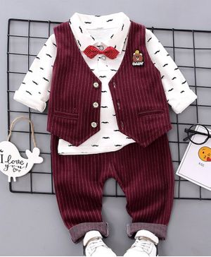 Pre Order - Awabox Moustache Printed Full Sleeves Shirt With Waistcoat & Pants - Maroon