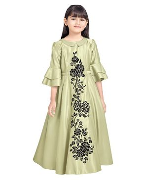 TINY BABY Floral Print Three Fourth Sleeves Gown - Green