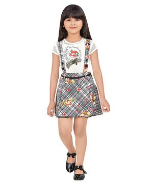 TINY BABY Printed Short Sleeves Top With Dungaree Skirt - White