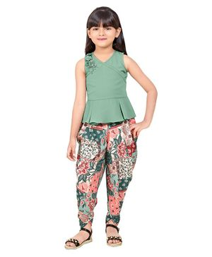 TINY BABY Sleeveless Top With Flower Print Dhoti - Green