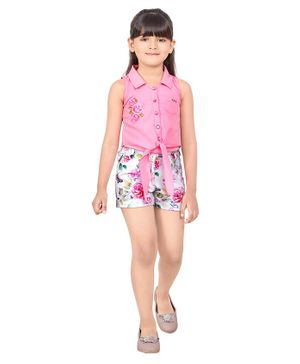 TINY BABY Sleeveless Knotted Shirt With Flower Print Shorts - Pink