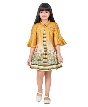 TINY BABY Striped Dress With Three Fourth Sleeves Jacket - Yellow
