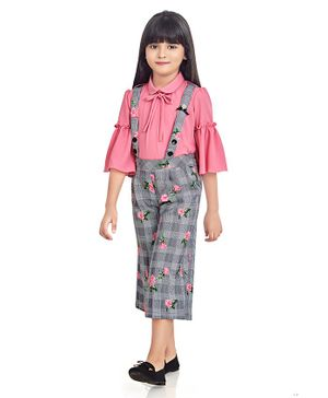 TINY BABY Three Fourth Sleeves Shirt With Printed Culottes - Pink