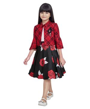 TINY BABY Three Fourth Sleeves Jacket With Rose Flower Print Dress - Red