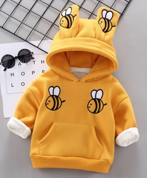 Pre Order - Awabox Bee Embroidered Long Sleeves Hoodie - Yellow