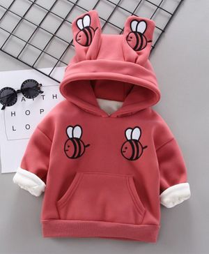 Pre Order - Awabox Bee Embroidered Long Sleeves Hoodie - Red