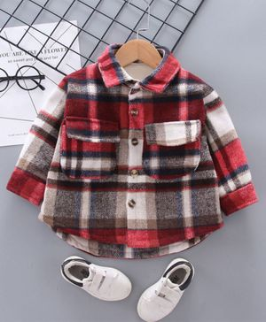 Pre Order - Awabox Checked Long Sleeves Shirt - Red