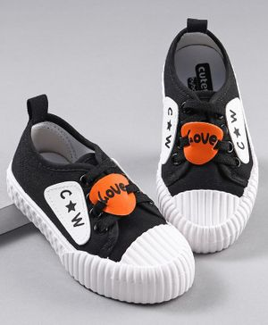 Cute Walk by Babyhug Canvas Shoes Patch Detailing - Black