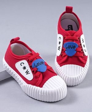 Cute Walk by Babyhug Canvas Shoes Patch Detailing - Red