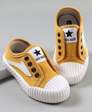 Cute Walk by Babyhug Sneaker Shoes - Mustard Yellow