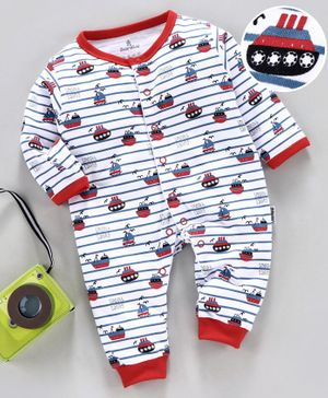 Child World Full Sleeves Striped Romper Ship Print - White Red