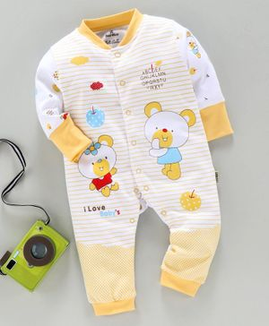 Child World Full Sleeves Striped Rompers Teddy Print - Yellow
