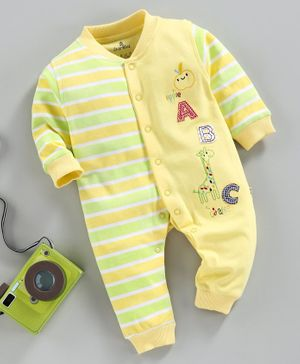 Child World Full Sleeves Striped Romper Alphabet Patch - Lemon Yellow