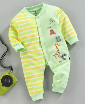 Child World Full Sleeves Striped Romper Alphabet Patch - Green Yellow
