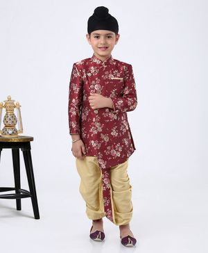 Ethnik's Neu Ron Full Sleeves Floral Kurta & Dhoti Set - Maroon Golden