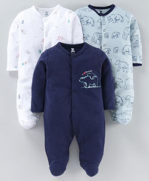 I Bears Full Sleeves Footed Rompers Pack of 3 - White Blue