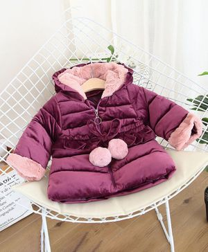 Pre Order - Awabox Ear Applique Full Sleeves Padded Hooded Jacket - Purple