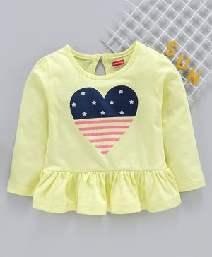 Babyhug Full Sleeves Top Heart Print - Yellow