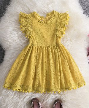 Pre Order - Awabox Pom Pom Detailed Lacey Short Sleeves Dress - Yellow