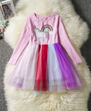 Pre Order - Awabox Full Sleeves Unicorn Printed Tulle Flare Dress - Baby Pink
