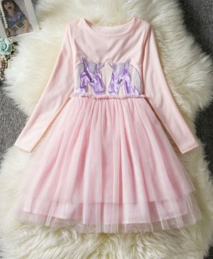 Pre Order - Awabox Full Sleeves Unicorn Patch Detailed Tulle Flare Dress - Baby Pink