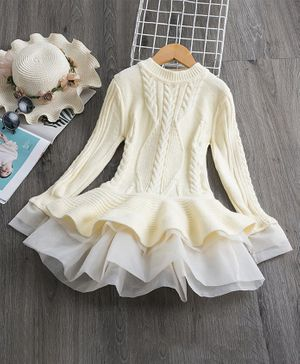 Pre Order - Awabox Self Design Full Sleeves Sweater Dress - Off White