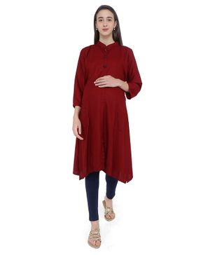 MomToBe Solid Three Fourth Sleeves Maternity & Feeding Kurti - Maroon