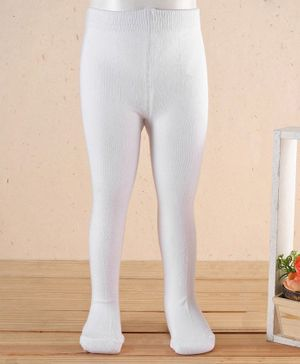 Babyhug Antibacterial 100% Cotton Footed Tights - White