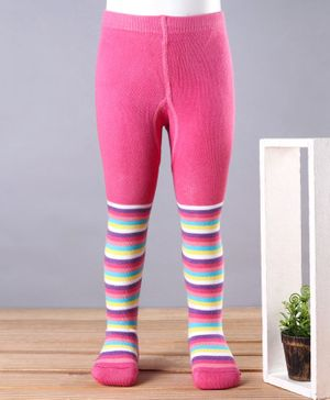 Babyhug Antibacterial Striped 100% Cotton Footed Tights - Pink