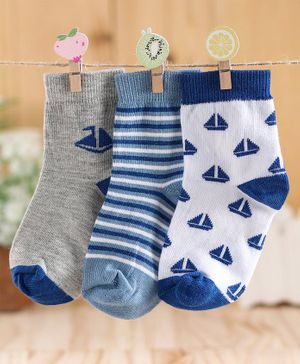 Cute Walk by Babyhug Ankle Length Non Terry Anti-bacterial Stripes & Boat Design Socks Pack of 3 Pairs - Blue Grey