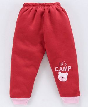 Mini Donuts Full Length Fleece Bottoms Let's Camp Print - Red