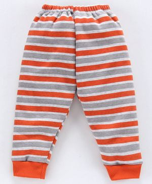 Mini Donuts Fleece Bottoms Stripe Print - Orange