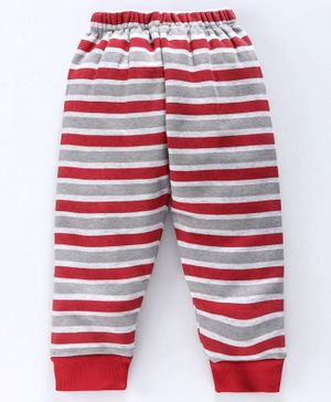 Mini Donuts Fleece Bottoms Stripe Print - Red