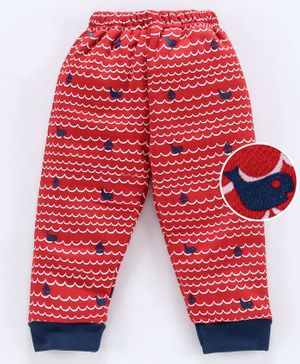 Mini Donuts Full Length Fleece Bottoms Printed Allover - Red