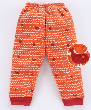Mini Donuts Full Length Fleece Bottoms Printed Allover - Orange