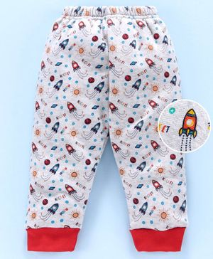 Mini Donuts Full Length Fleece Bottoms Rocket Print - Grey  Red