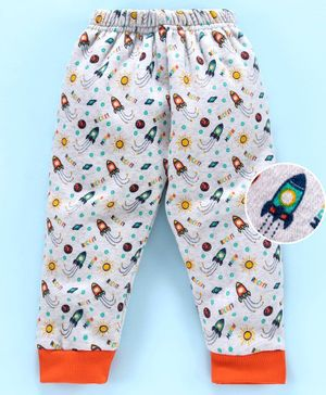 Mini Donuts Full Length Fleece Bottoms Rocket Print - Grey Orange
