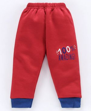 Mini Donuts Full Length Fleece Bottoms Text Print - Red