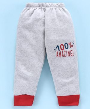 Mini Donuts Full Length Fleece Bottoms Text Print - Grey
