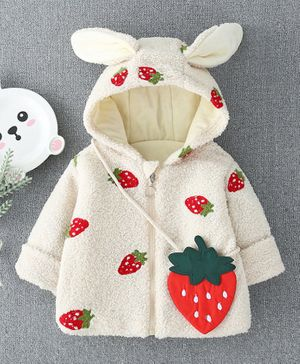 Pre Order - Awabox Full Sleeves Strawberry Patch Hooded Jacket With Sling Bag - Cream