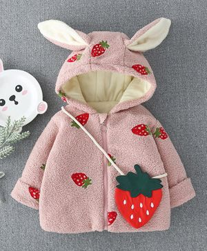 Pre Order - Awabox Full Sleeves Strawberry Patch Hooded Jacket With Sling Bag - Pink