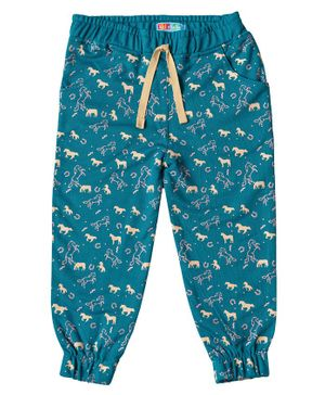 Kid Studio Animals Print Full Length Joggers - Turquoise Blue