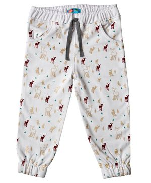Kid Studio Deer Print Full Length Joggers - White