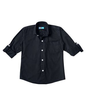 Kid Studio Long Sleeves Solid Button Down Shirt - Black
