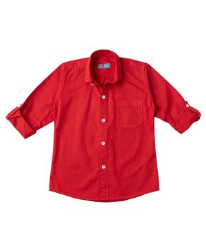 Kid Studio Long Sleeves Solid Button Down Shirt - Red