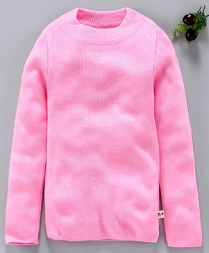 Yellow Apple Full Sleeves Solid Winter Wear Tee - Light Pink