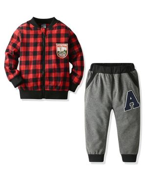 Pre Order - Awabox Checkered Full Sleeves Jacket With Track Pants - Red
