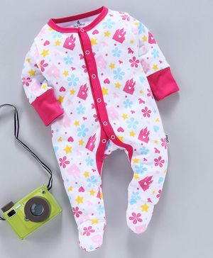 Child World Full Sleeves Footed Romper Flower Print - Pink