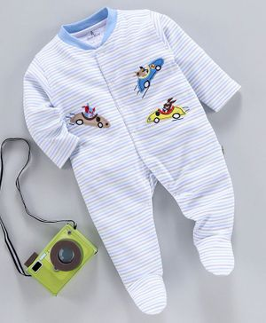 Child World Full Sleeves Striped Footed Romper Racing Car Patch - Blue