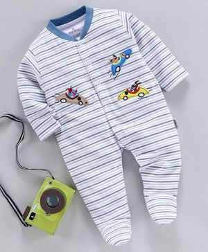 Child World Full Sleeves Striped Footed Romper Racing Car Patch - Grey Blue